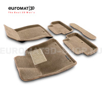 Текстильные 3D коврики Euromat3D Business в салон для Genesis G70 (2018-) № EMC3D-001403T Бежевые