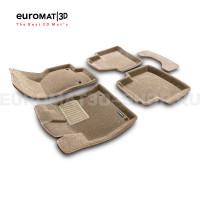 Текстильные 3D коврики Euromat3D Business в салон для Skoda Superb (2015-) № EMC3D-004510T Бежевые